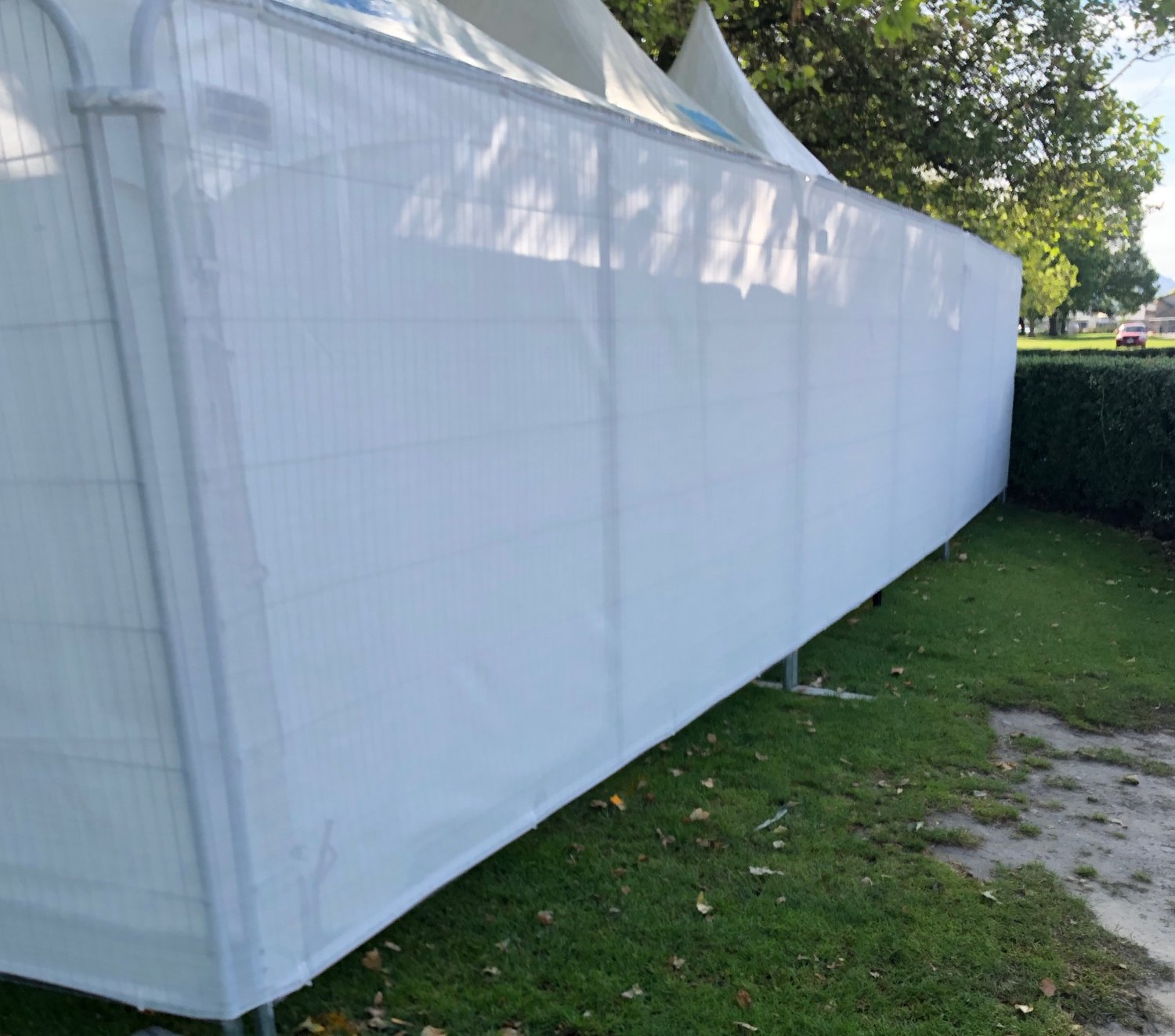 plain white fencing shadecloth